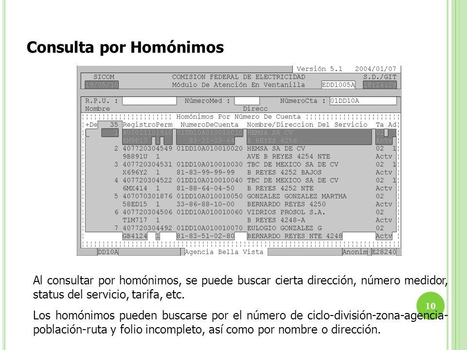 Consulta por Homónimos