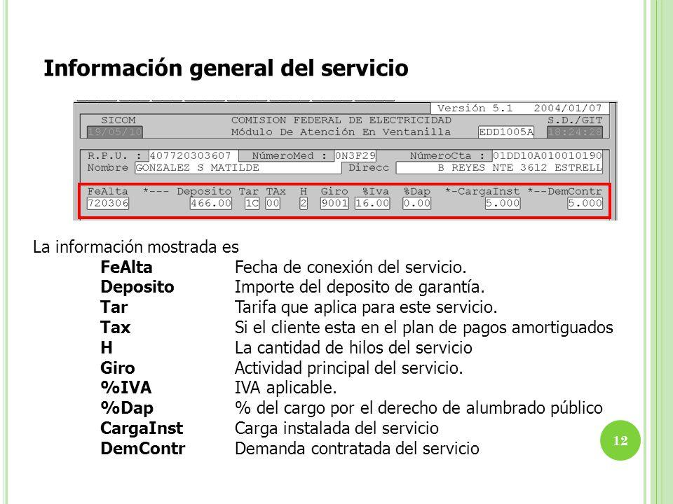 Información general del servicio