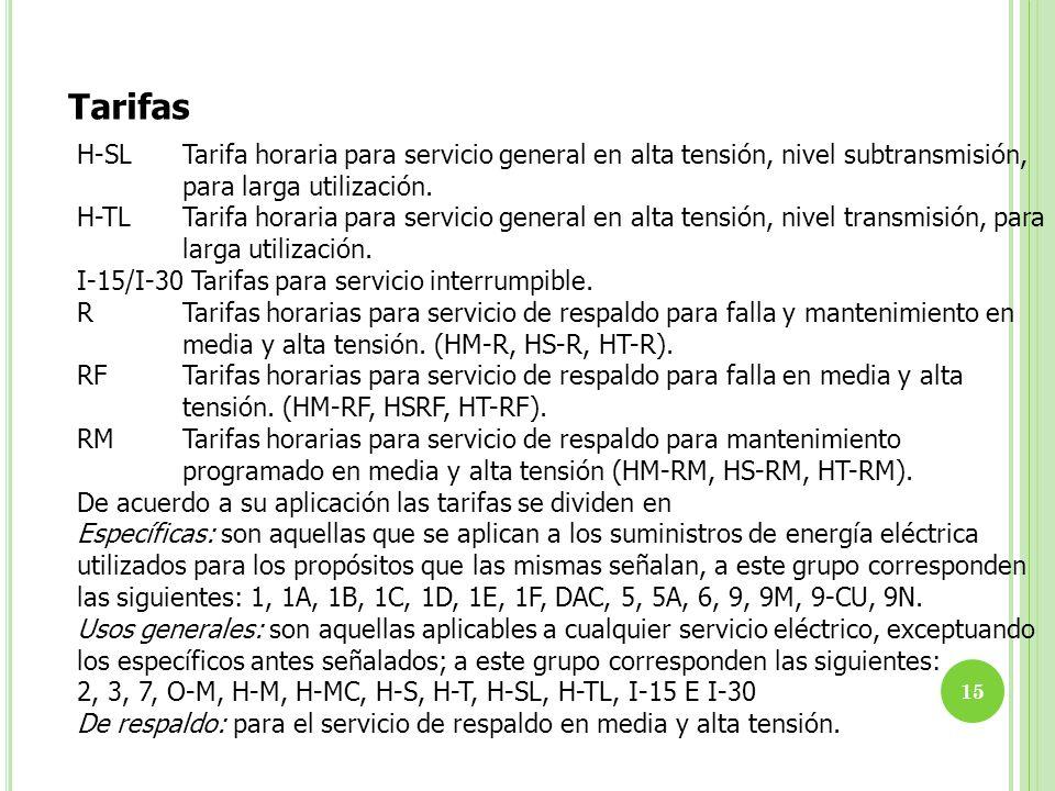 Tarifas H-SL Tarifa horaria para servicio general en alta tensión, nivel subtransmisión, para larga utilización.