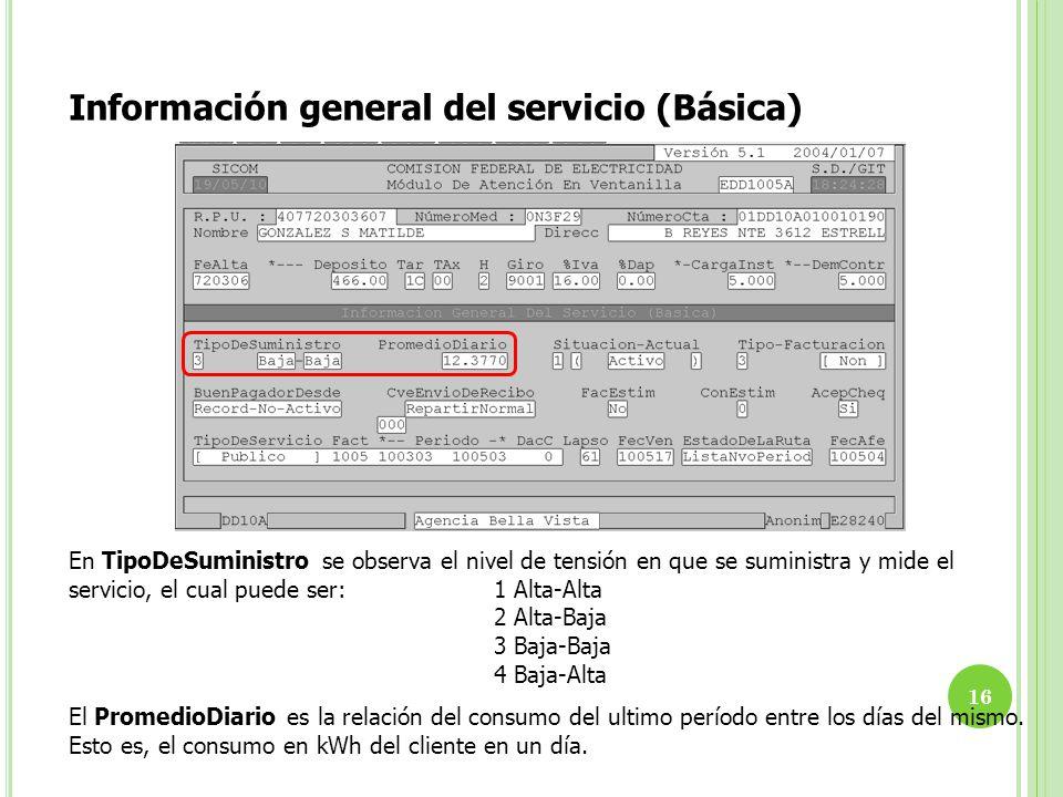 Información general del servicio (Básica)