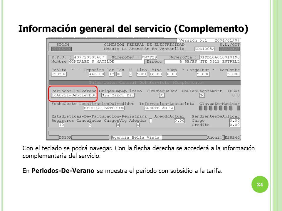 Información general del servicio (Complemento)