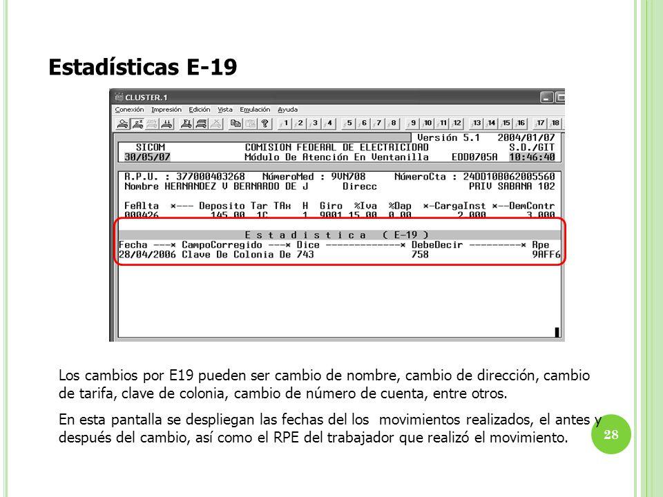 Estadísticas E-19