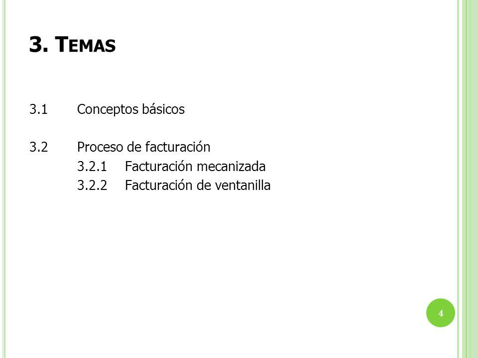 3. Temas 3.1 Conceptos básicos 3.2 Proceso de facturación