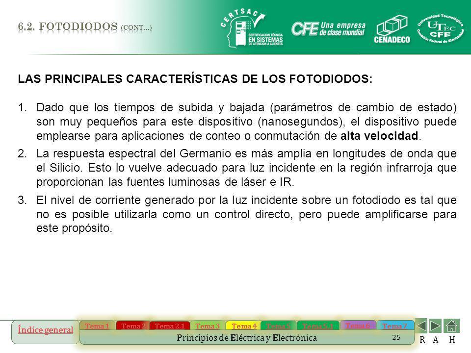 LAS PRINCIPALES CARACTERÍSTICAS DE LOS FOTODIODOS: