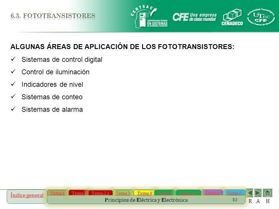 ALGUNAS ÁREAS DE APLICACIÓN DE LOS FOTOTRANSISTORES: