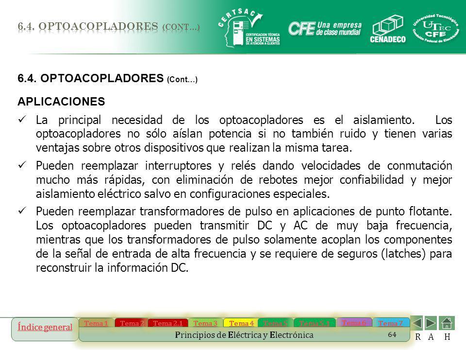6.4. OPTOACOPLADORES (Cont…) APLICACIONES