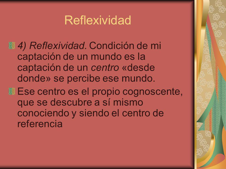 Reflexividad 4) Reflexividad. Condición de mi captación de un mundo es la captación de un centro «desde donde» se percibe ese mundo.