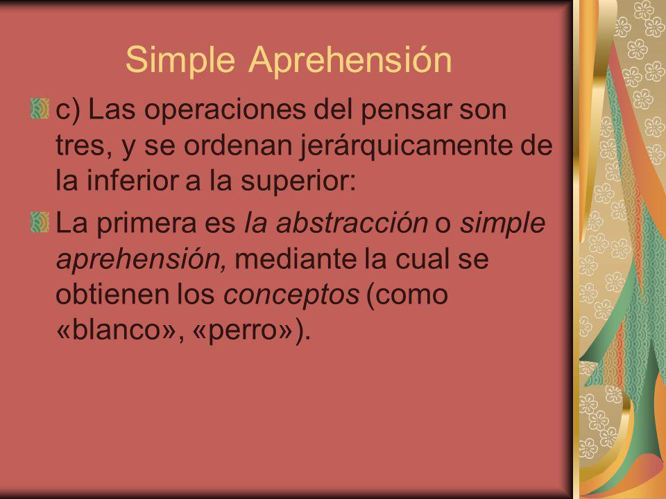 Simple Aprehensión c) Las operaciones del pensar son tres, y se ordenan jerárquicamente de la inferior a la superior:
