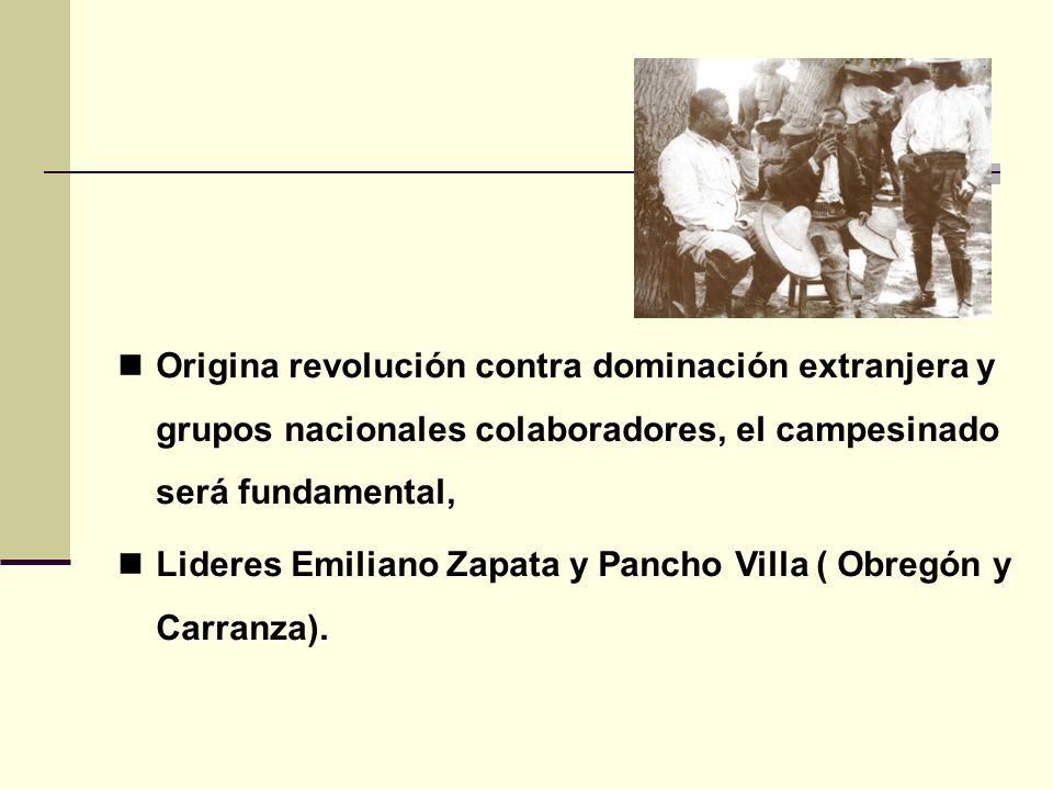 Origina revolución contra dominación extranjera y grupos nacionales colaboradores, el campesinado será fundamental,