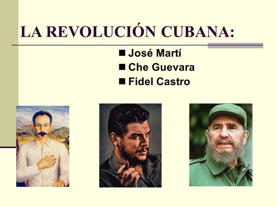 LA REVOLUCIÓN CUBANA: José Martí Che Guevara Fidel Castro