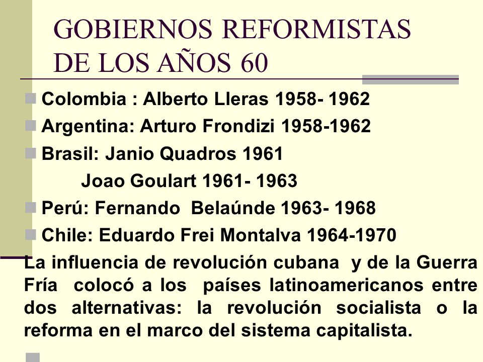 GOBIERNOS REFORMISTAS DE LOS AÑOS 60