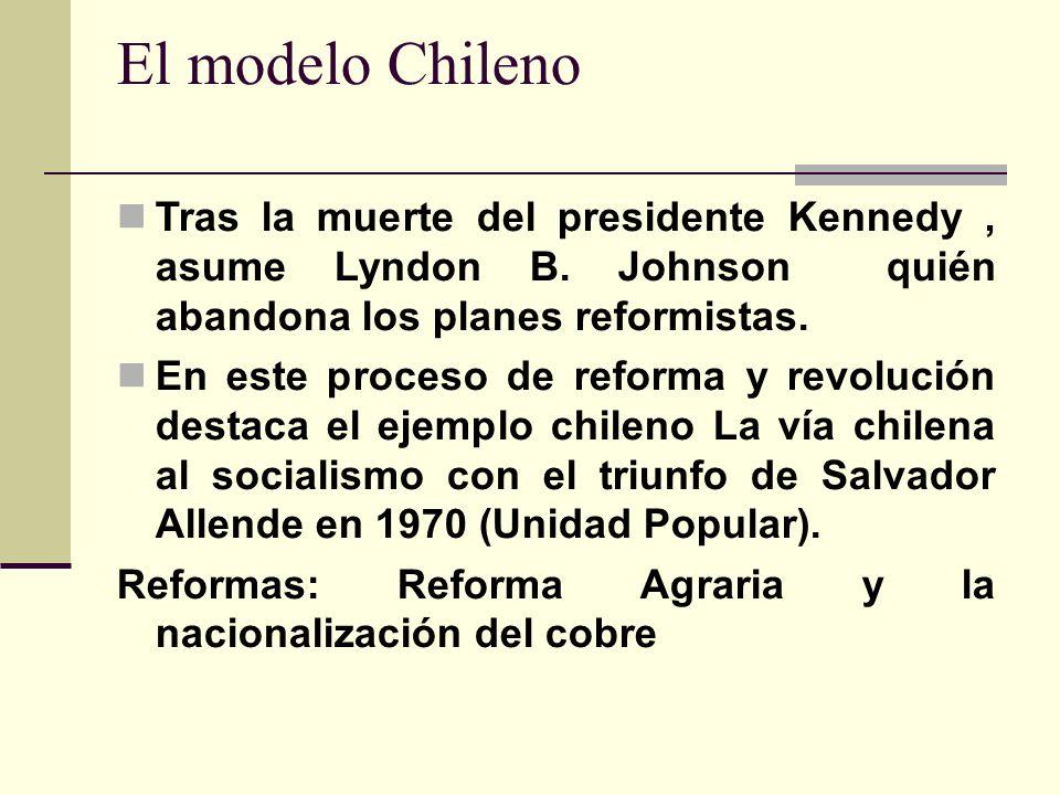 El modelo Chileno Tras la muerte del presidente Kennedy , asume Lyndon B. Johnson quién abandona los planes reformistas.