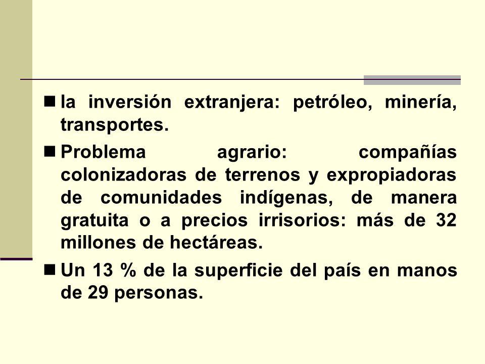 la inversión extranjera: petróleo, minería, transportes.
