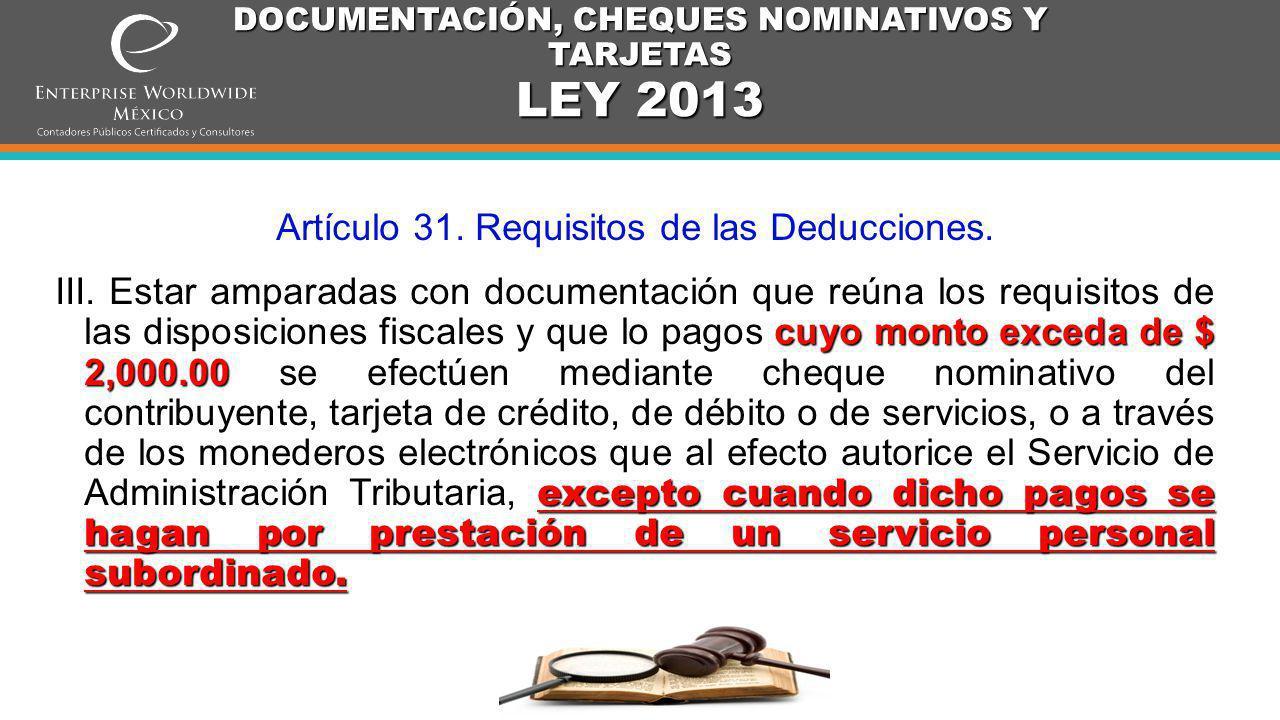 DOCUMENTACIÓN, CHEQUES NOMINATIVOS Y TARJETAS LEY 2013