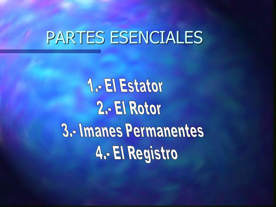 PARTES ESENCIALES 1.- El Estator 2.- El Rotor 3.- Imanes Permanentes