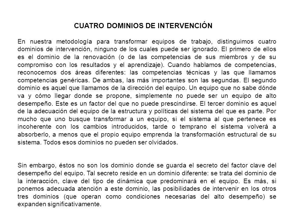 CUATRO DOMINIOS DE INTERVENCIÓN