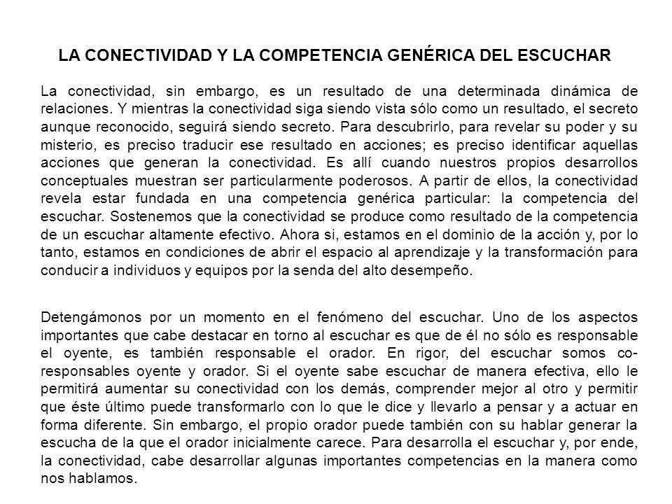 LA CONECTIVIDAD Y LA COMPETENCIA GENÉRICA DEL ESCUCHAR