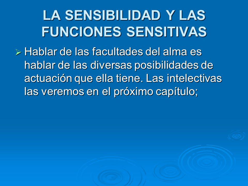 LA SENSIBILIDAD Y LAS FUNCIONES SENSITIVAS