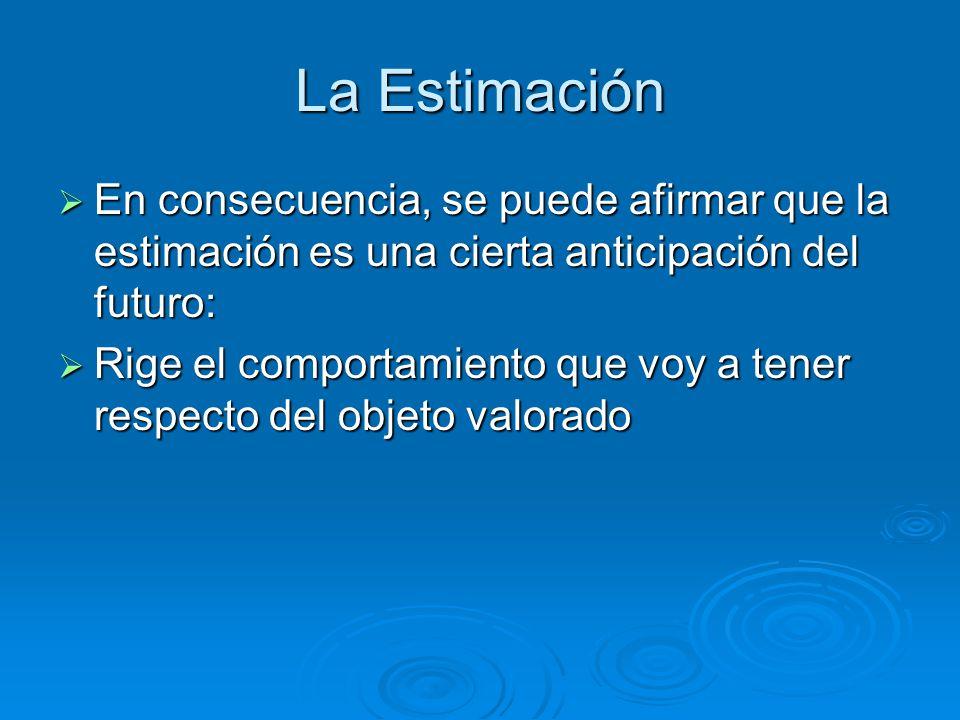 La Estimación En consecuencia, se puede afirmar que la estimación es una cierta anticipación del futuro: