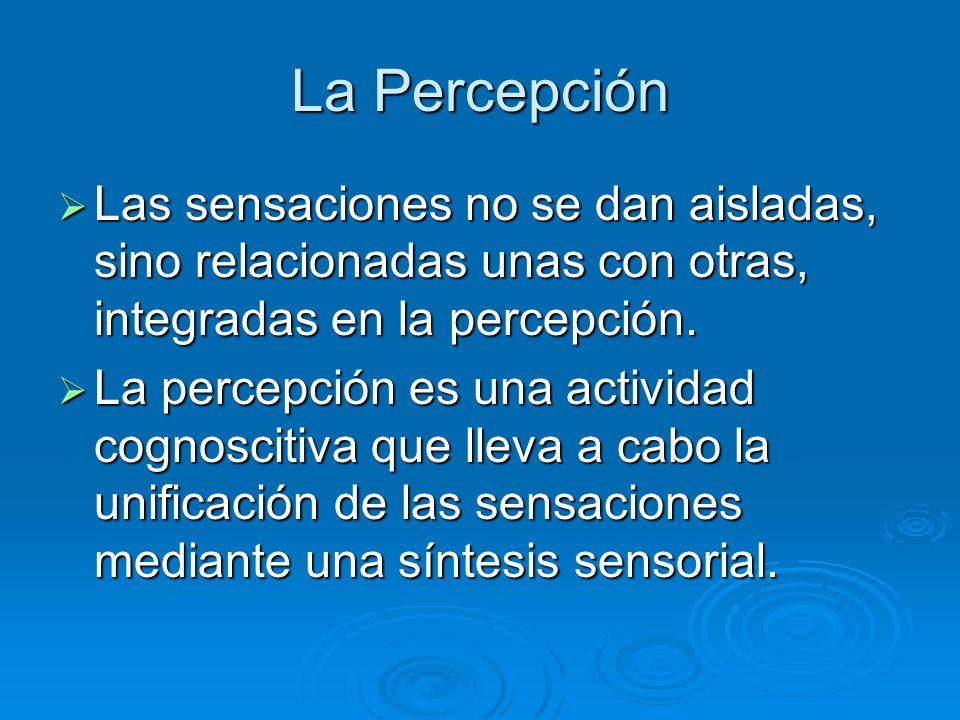 La Percepción Las sensaciones no se dan aisladas, sino relacionadas unas con otras, integradas en la percepción.