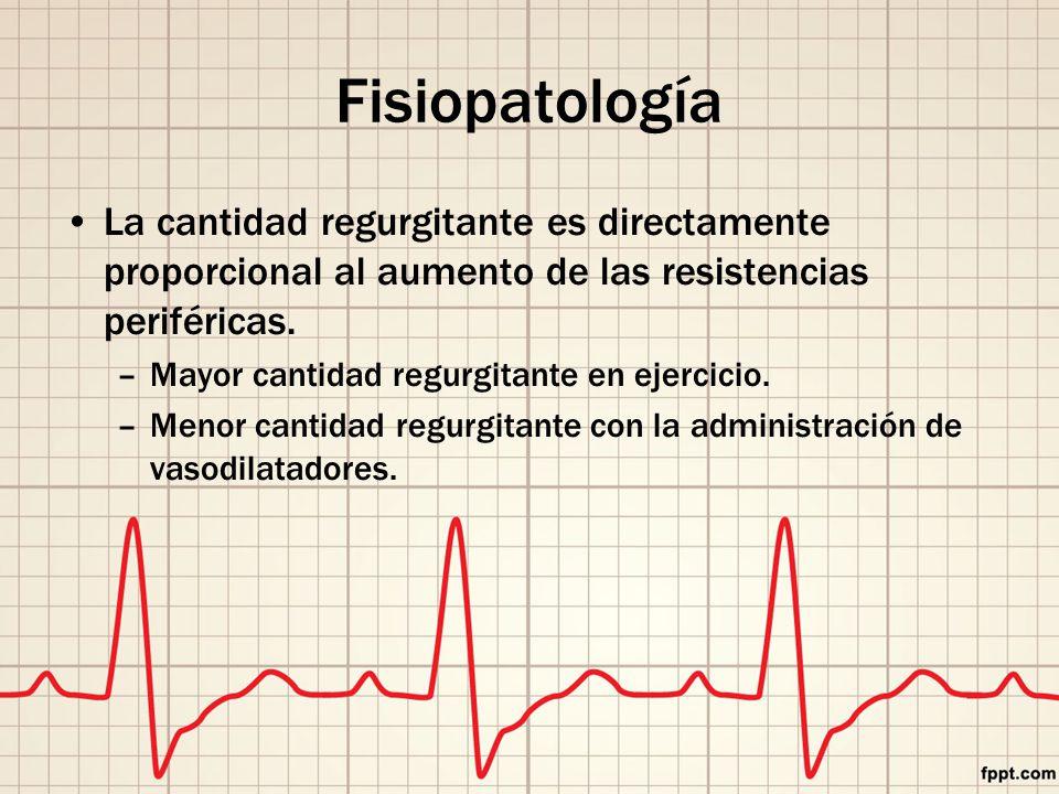 Fisiopatología La cantidad regurgitante es directamente proporcional al aumento de las resistencias periféricas.