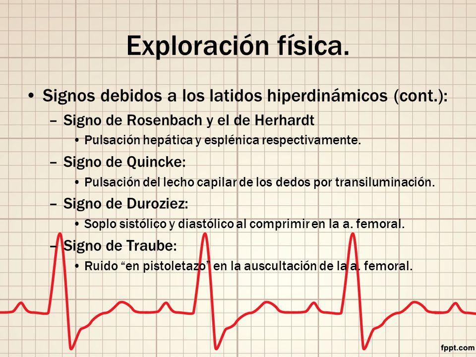 Exploración física. Signos debidos a los latidos hiperdinámicos (cont.): Signo de Rosenbach y el de Herhardt.