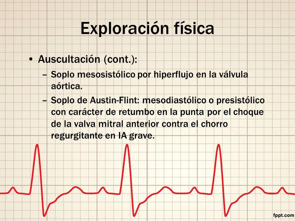 Exploración física Auscultación (cont.):