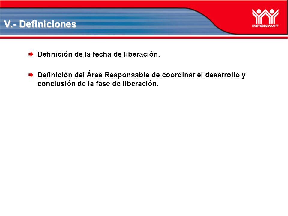 V.- Definiciones Definición de la fecha de liberación.