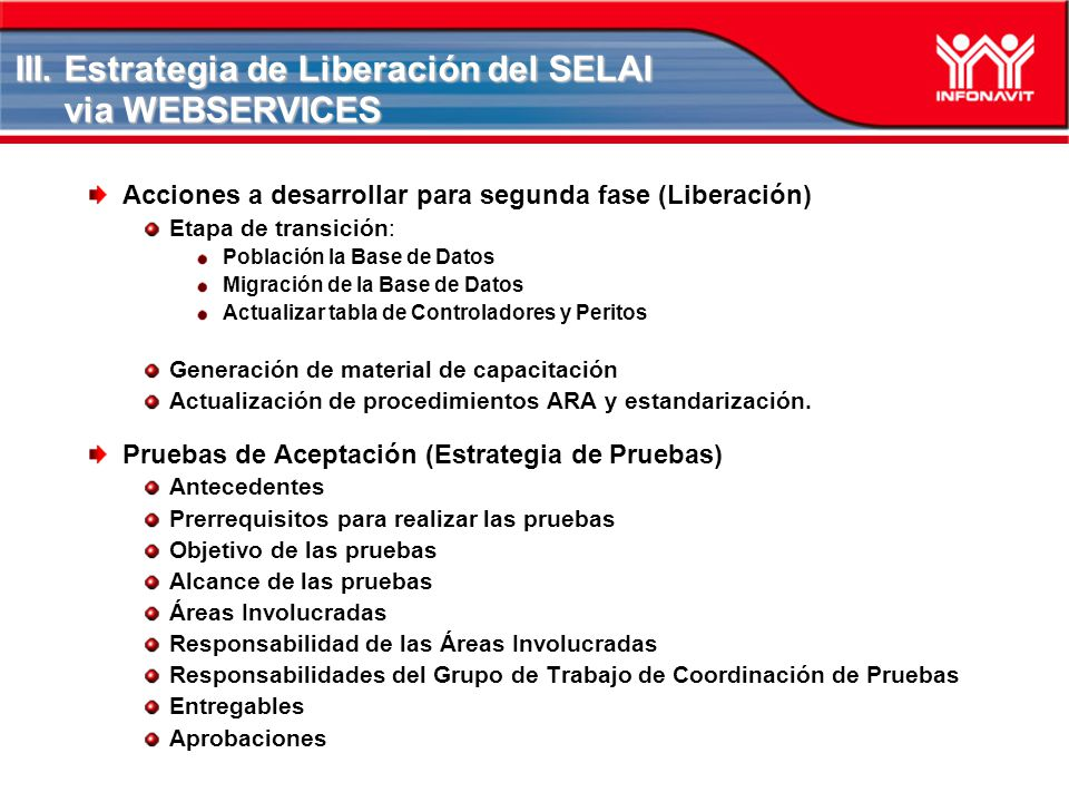 III. Estrategia de Liberación del SELAI via WEBSERVICES