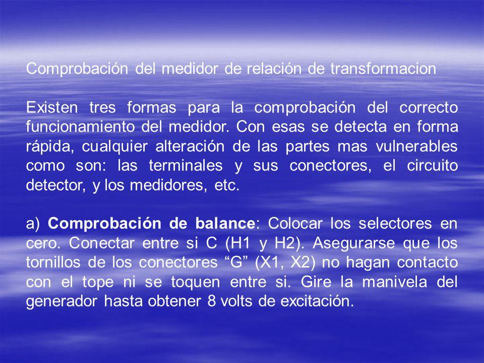 Comprobación del medidor de relación de transformacion