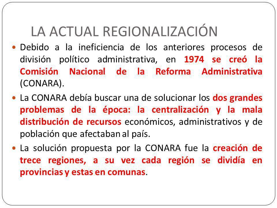 LA ACTUAL REGIONALIZACIÓN