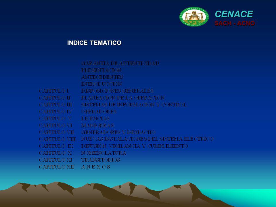 CENACE SACH - ACNO INDICE TEMATICO