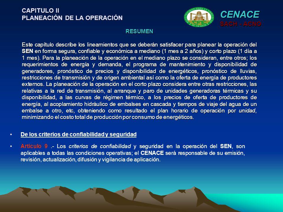 CENACE CAPITULO II PLANEACIÓN DE LA OPERACIÓN SACH - ACNO