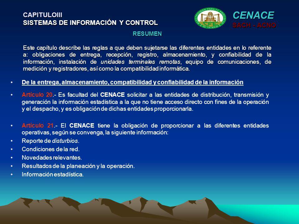 CENACE CAPITULOIII SISTEMAS DE INFORMACIÓN Y CONTROL SACH - ACNO