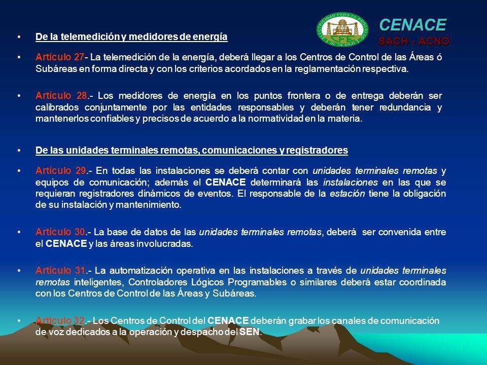 CENACE SACH - ACNO De la telemedición y medidores de energía