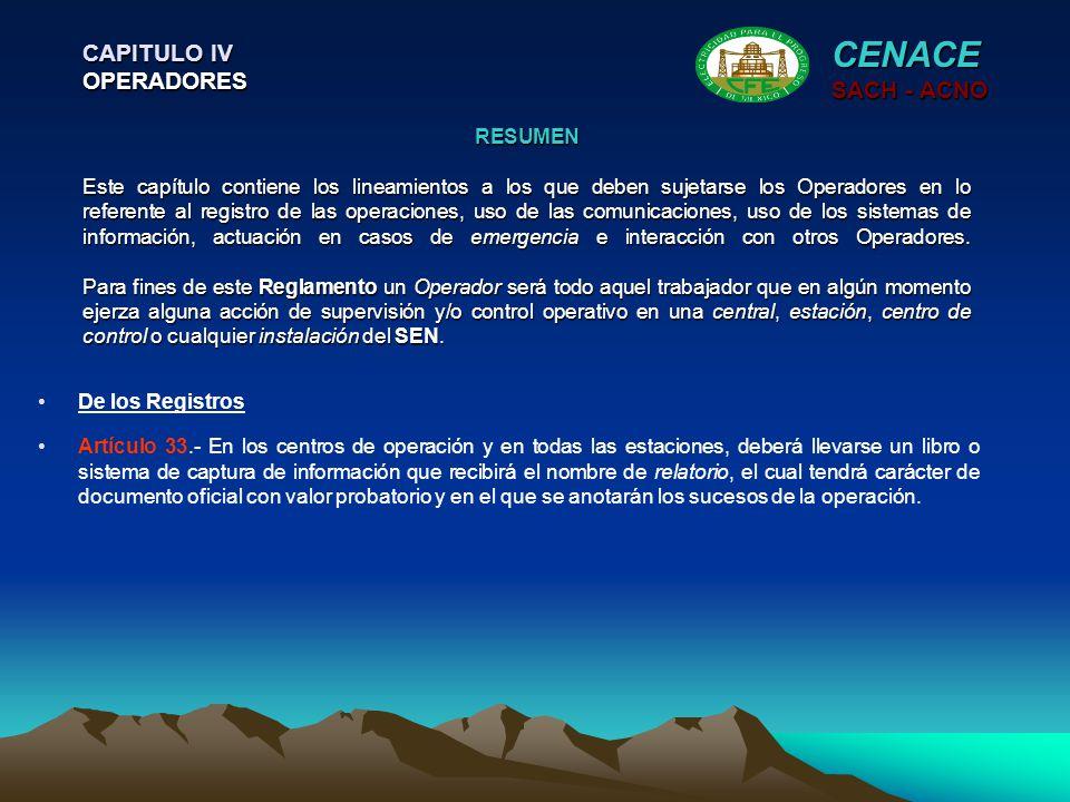 CENACE CAPITULO IV OPERADORES SACH - ACNO