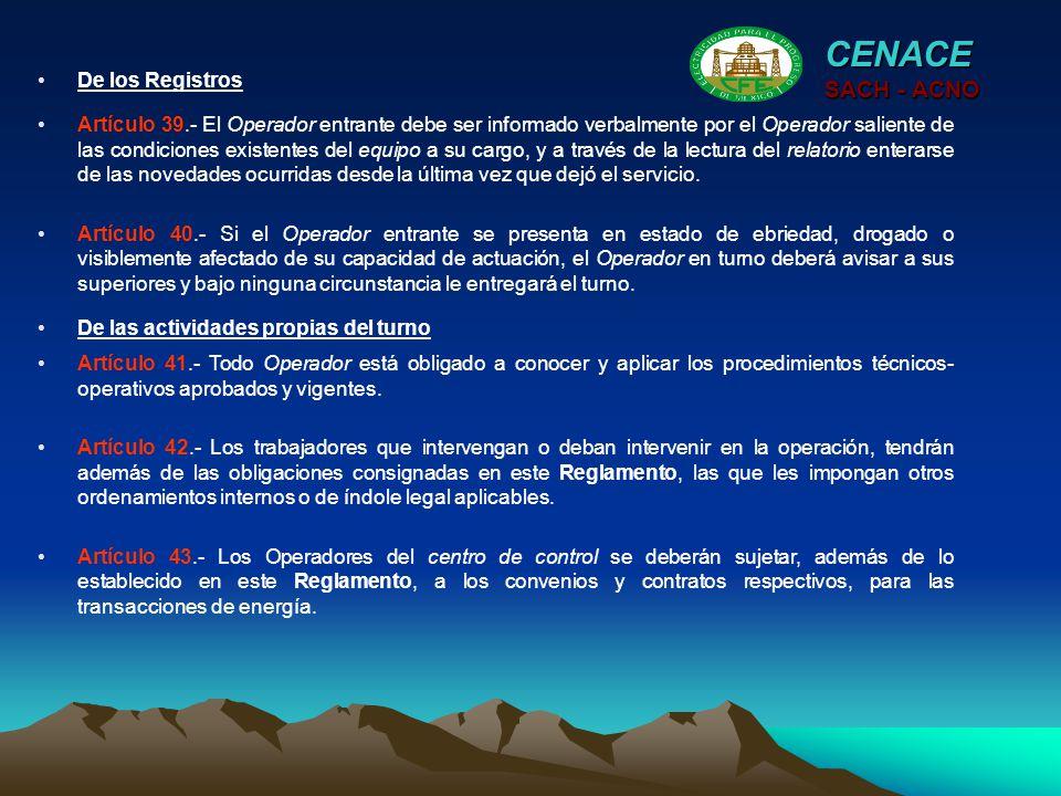 CENACE SACH - ACNO De los Registros
