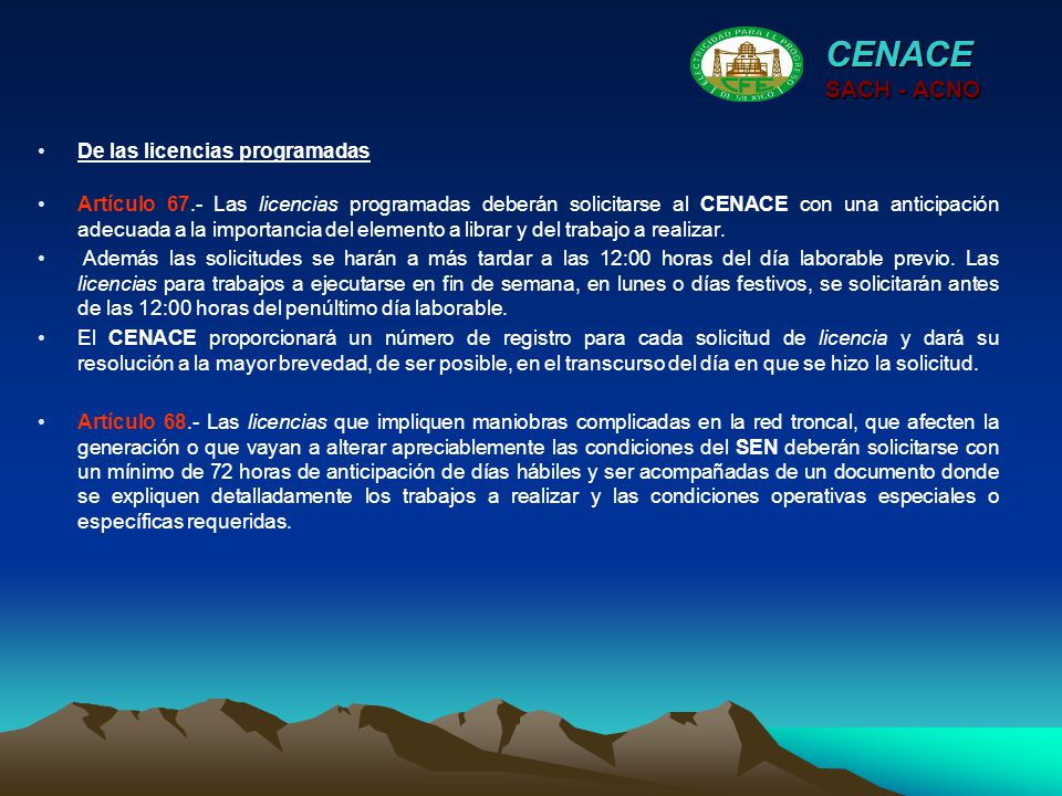 CENACE SACH - ACNO De las licencias programadas