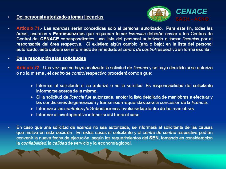 CENACE SACH - ACNO Del personal autorizado a tomar licencias