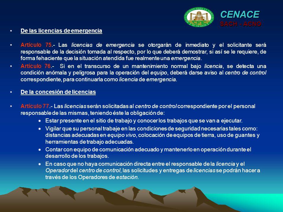 CENACE SACH - ACNO De las licencias de emergencia