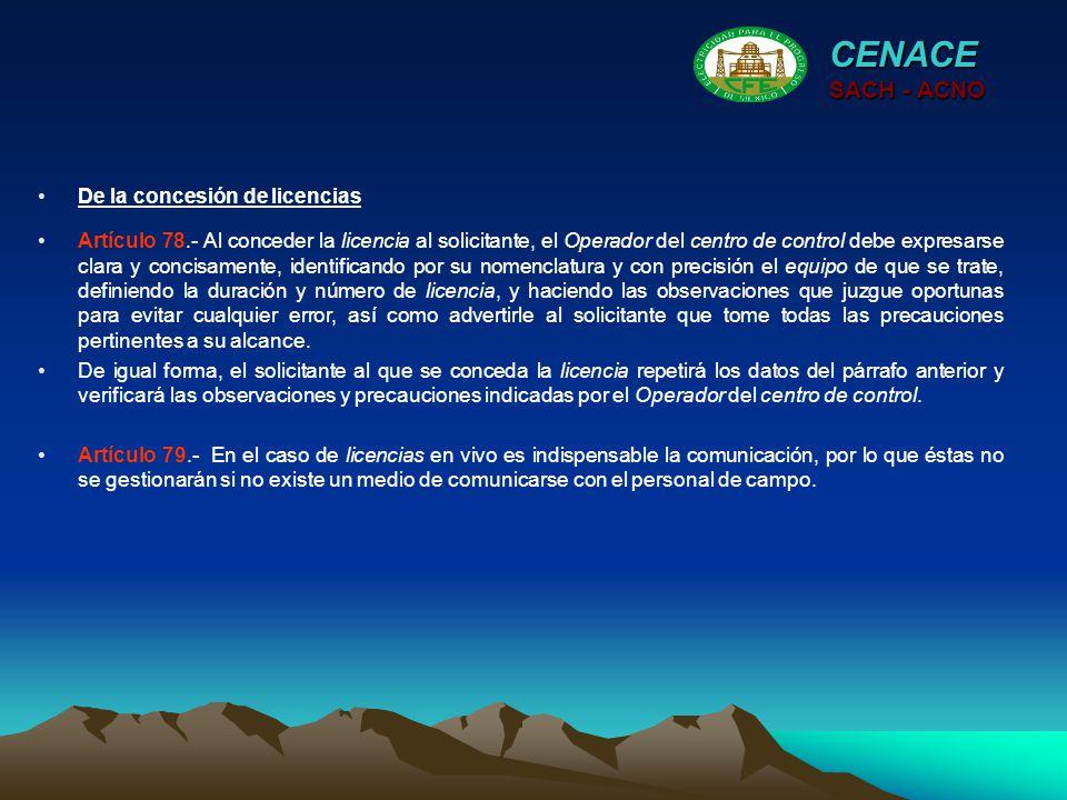 CENACE SACH - ACNO De la concesión de licencias