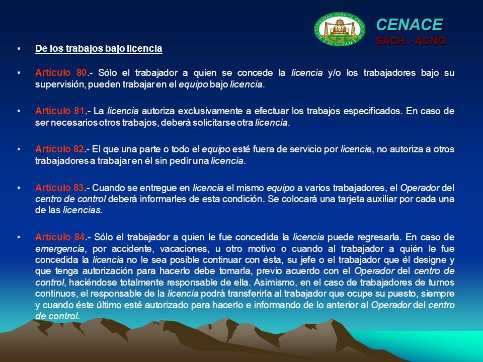 CENACE SACH - ACNO De los trabajos bajo licencia