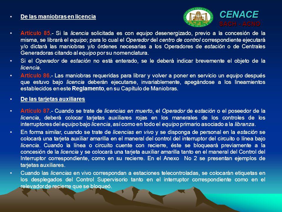 CENACE SACH - ACNO De las maniobras en licencia