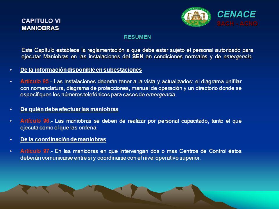 CENACE CAPITULO VI MANIOBRAS SACH - ACNO