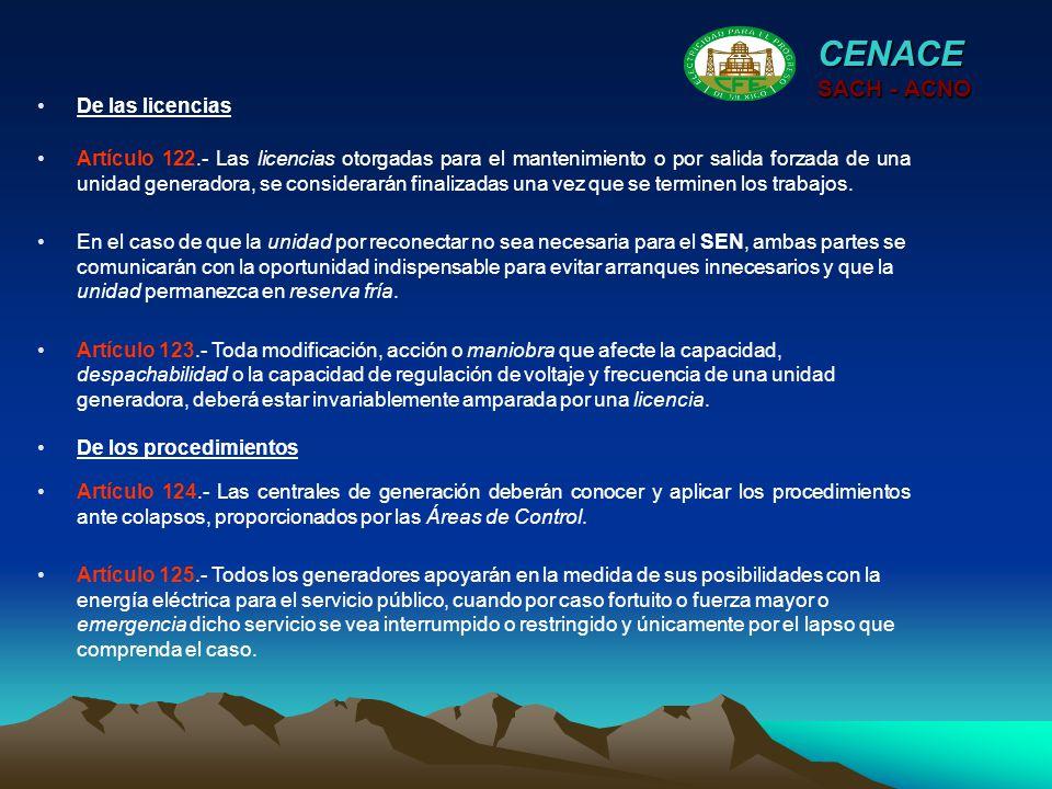 CENACE SACH - ACNO De las licencias