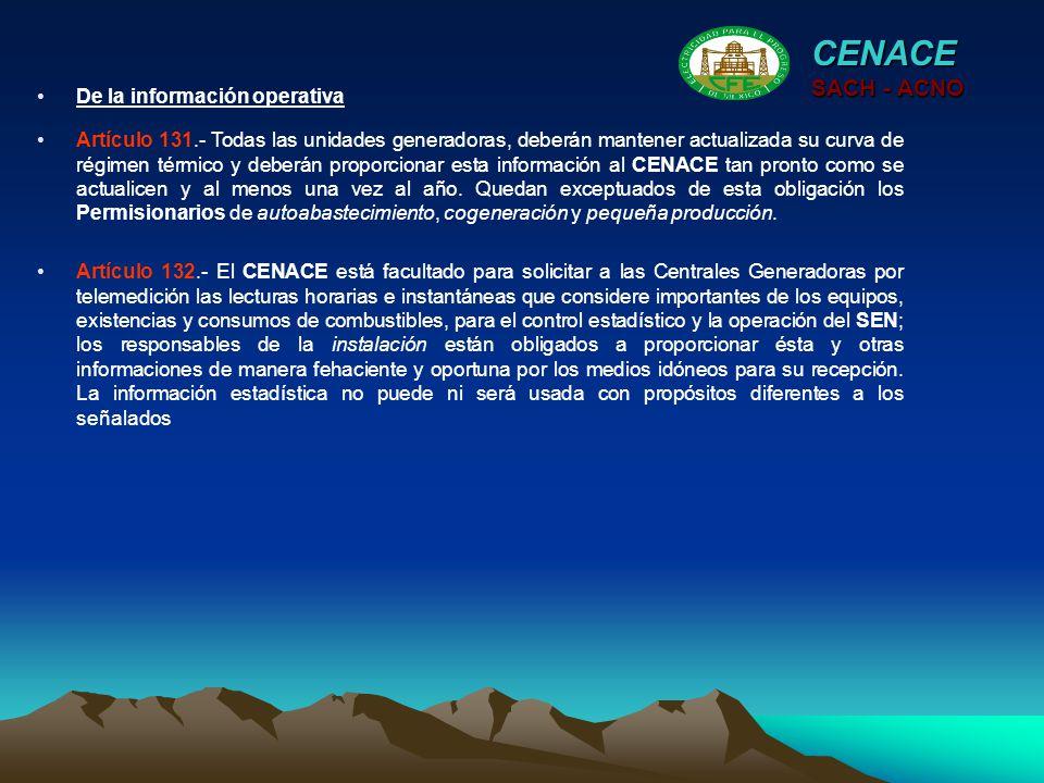 CENACE SACH - ACNO De la información operativa