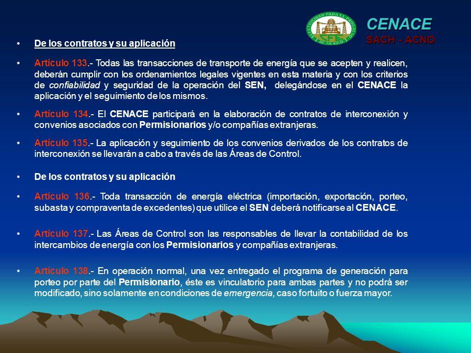 CENACE SACH - ACNO De los contratos y su aplicación