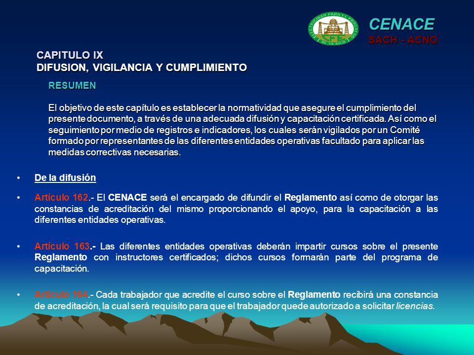 CENACE SACH - ACNO CAPITULO IX DIFUSION, VIGILANCIA Y CUMPLIMIENTO