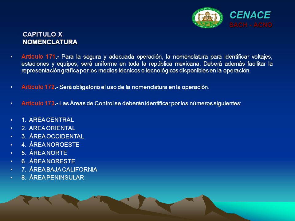 CENACE SACH - ACNO CAPITULO X NOMENCLATURA