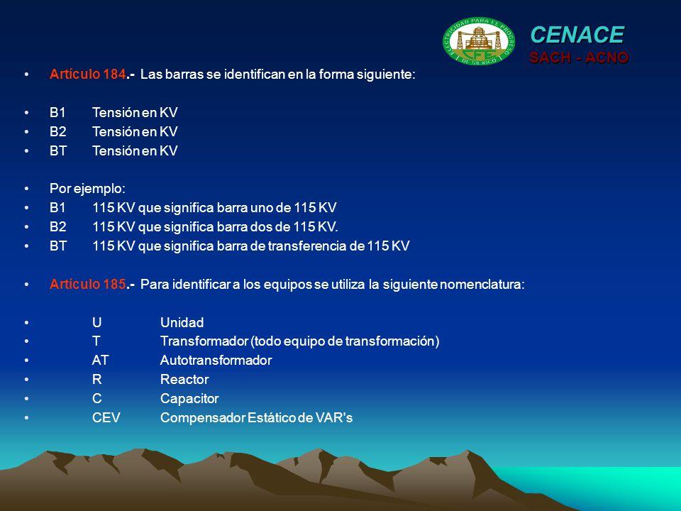 CENACE SACH - ACNO. Artículo 184.- Las barras se identifican en la forma siguiente: B1 Tensión en KV.